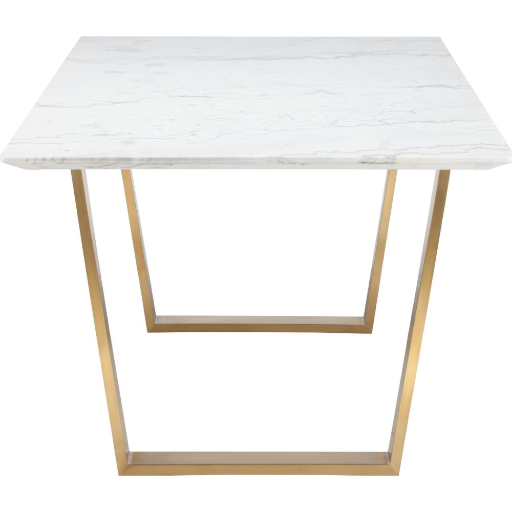 marble top kitchen table Nuevo Modern Furniture Catrine Dining Table w White Marble Top on Brushed Gold Stainless Base