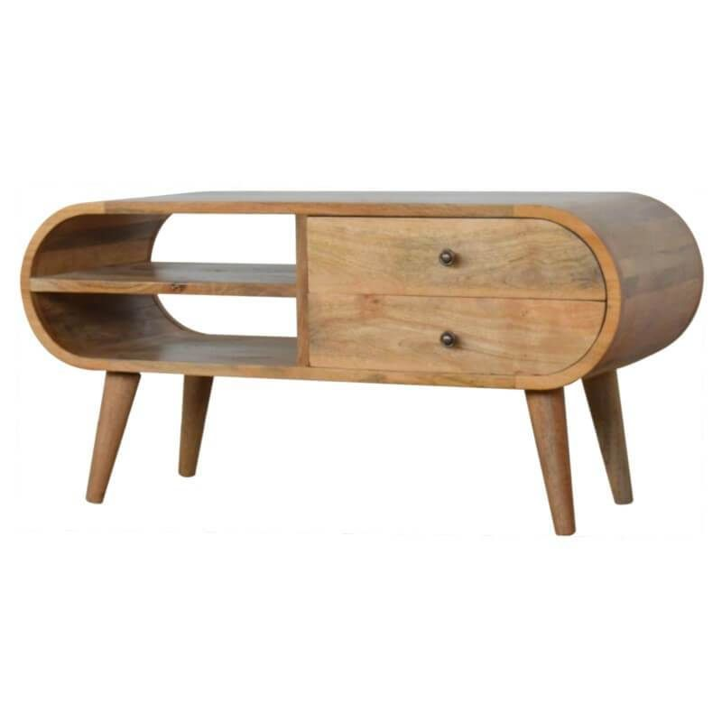 Rounded Edges TV Unit with 2 Drawers