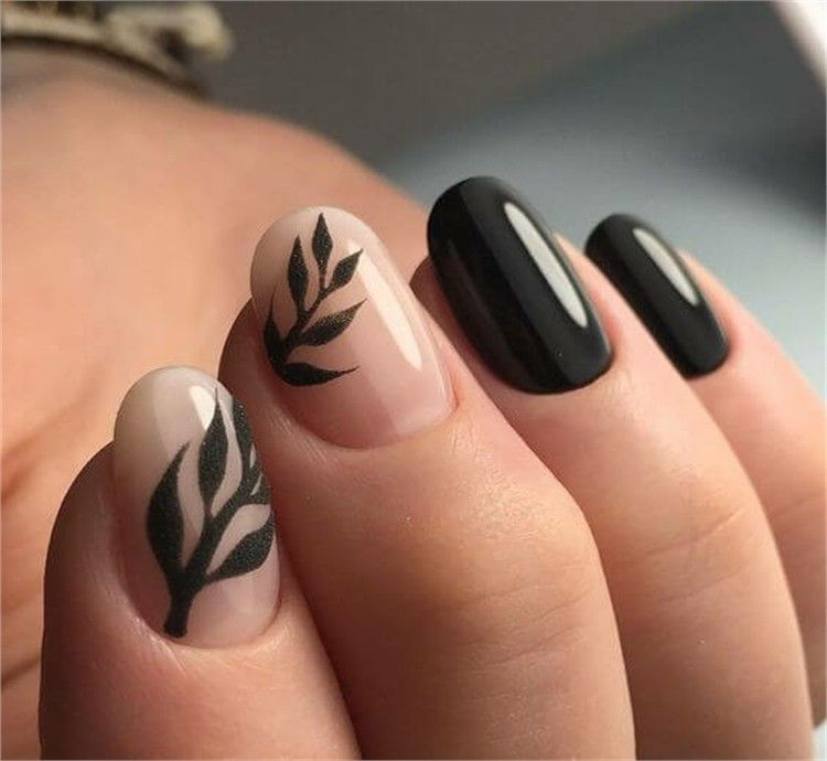 Nude Stiletto Acrylic Nails And Black Nail Art, HOW TO