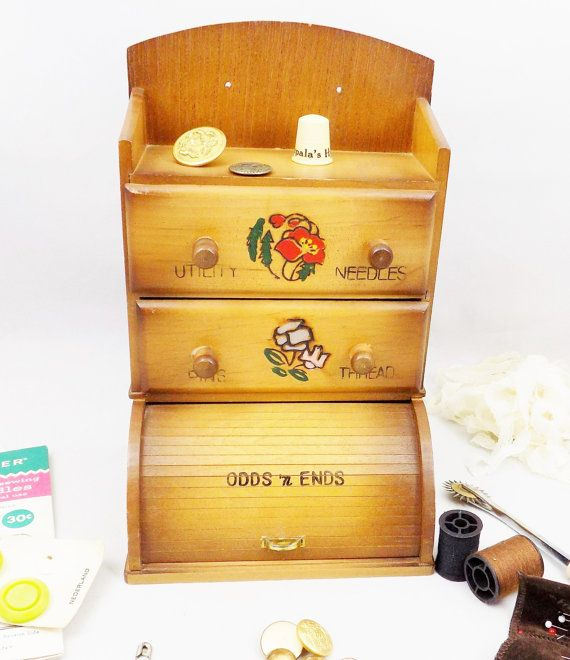Wood Sewing Notions Box, Cute Sewing Box with Rolltop Cubby, Made in Japan…