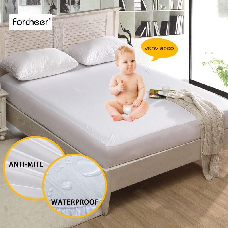 House Ideas 1pc Russan Size 180x200 28cm Smooth Waterproof Mattress Protector Cover For Bed Wet Breathable Hypoallergenic Anti Mite Mattress Covers Mattr