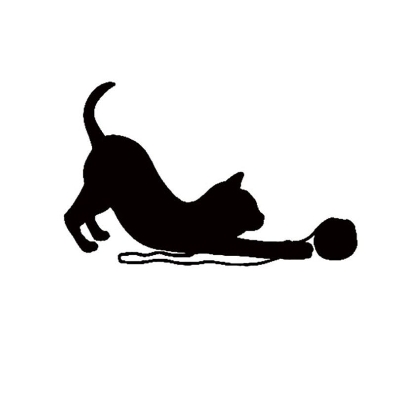 Cat Playing With Ball Of Yarn Sticker Laptop Car Window Truck Suv Vinyl Decal 8 Colors Free