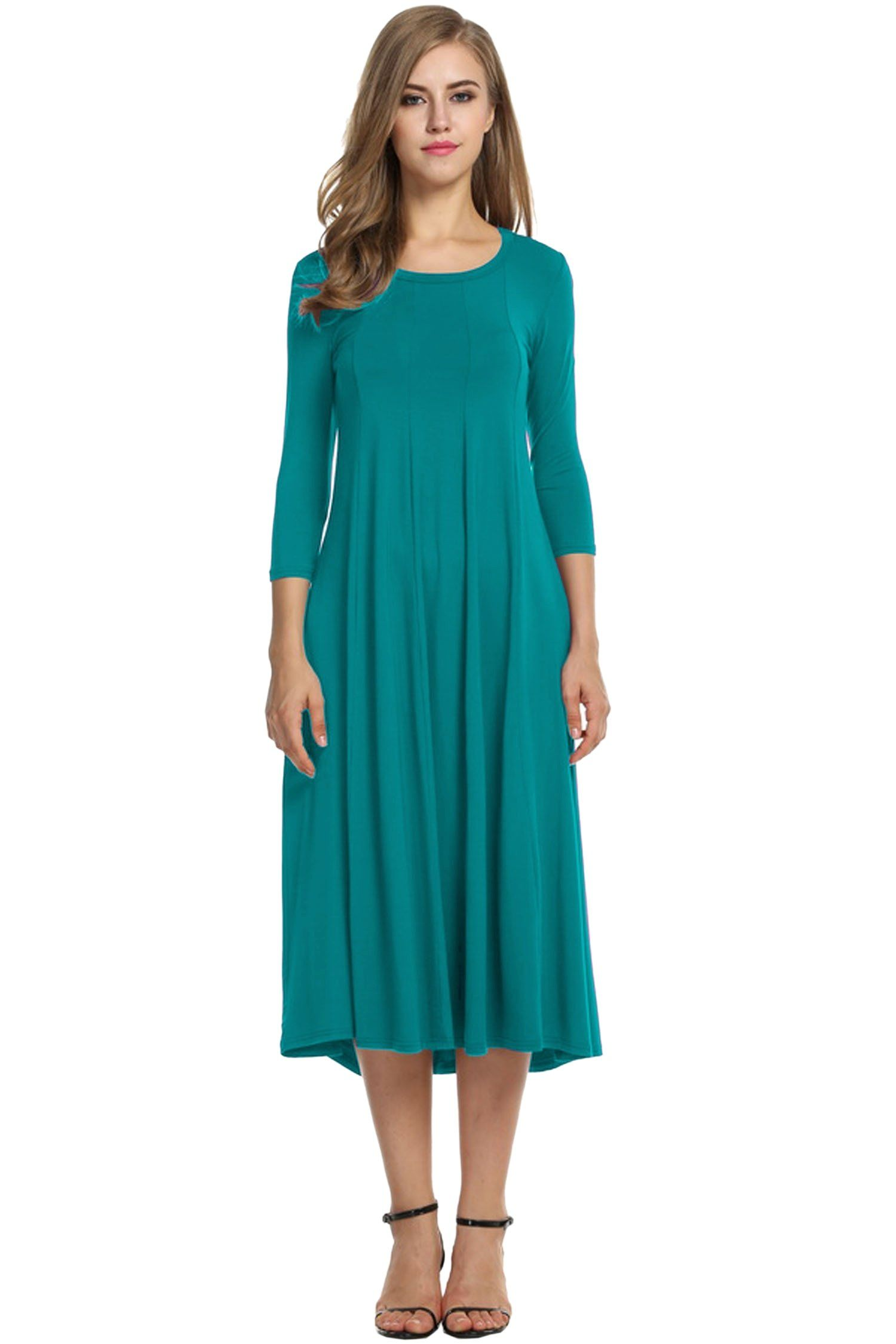622d29cc7e569 Maternity Dresses - Hotouch Women 3/4 Sleeve Round Neck Summer Casual Flared  Midi Dress Jade Green XL * See the photo link more information.