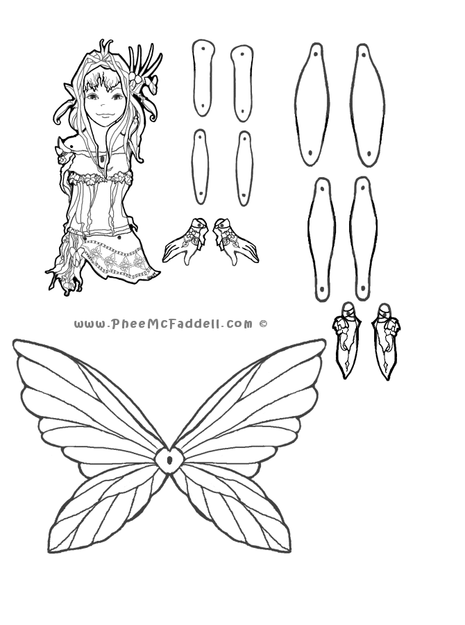 09bardpeaseblossompuppetbw670 Png 670 900 Pixels Fairy Coloring Pages Paper Dolls Paper Puppets