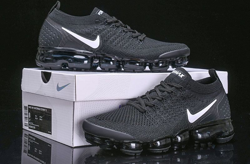 125b6dd54 Mens Womens Nike Air Vapormax Flyknit 2 Black White-Dark Grey Metallic  Silver