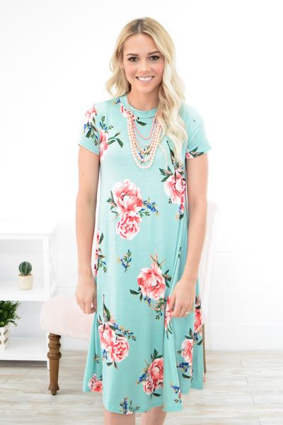 Rayna Floral Trapeze Dress in Mint