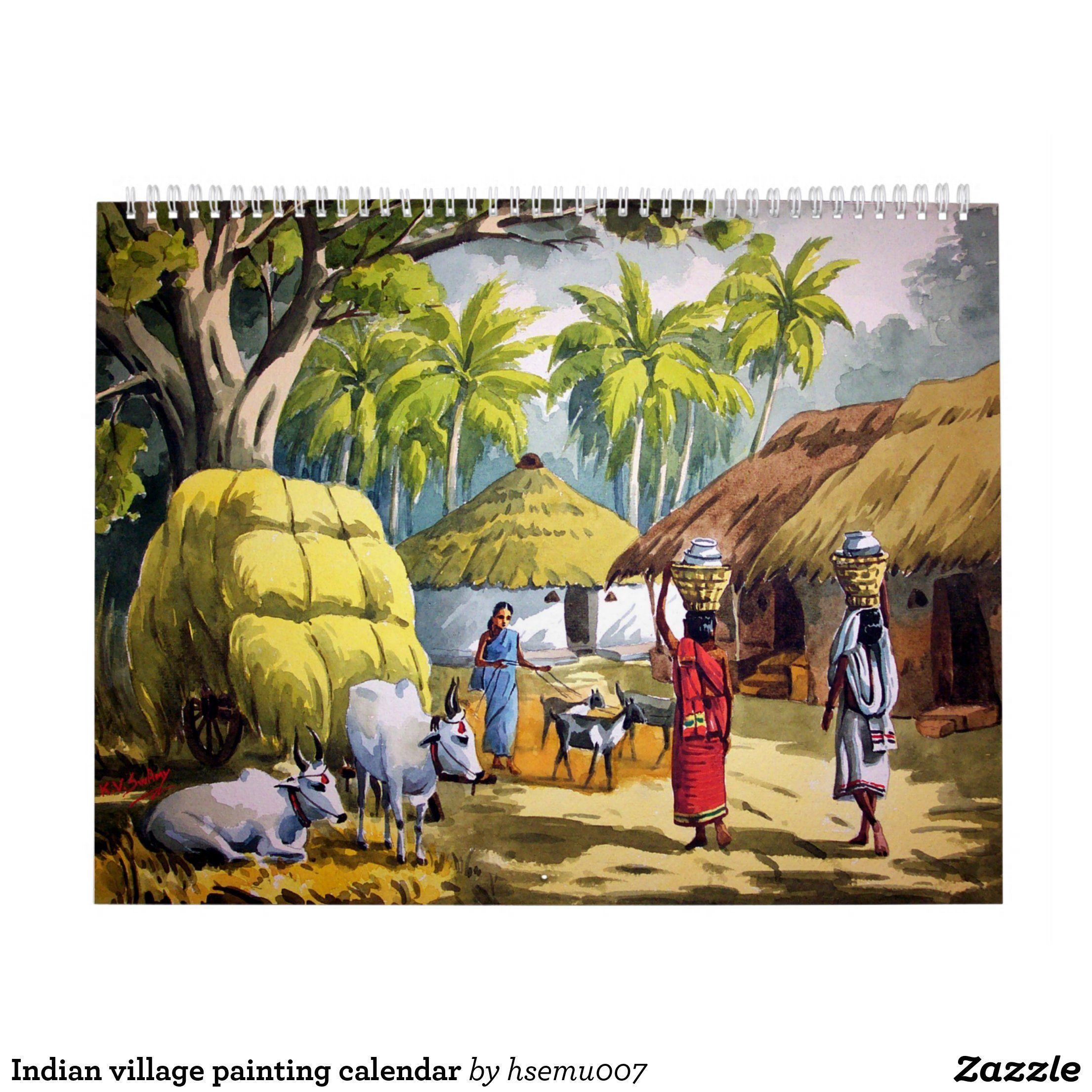 Indian Village Painting Calendar Zazzle Com In 2020 Art Village Village Scene Drawing India Painting