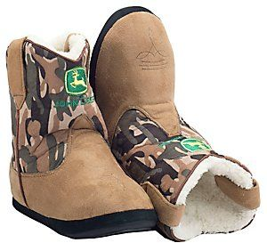 Montana Silversmiths® Cowboy Kickers™ Adult John Deere Brown w/ Camo Cowboy Boot Slippers