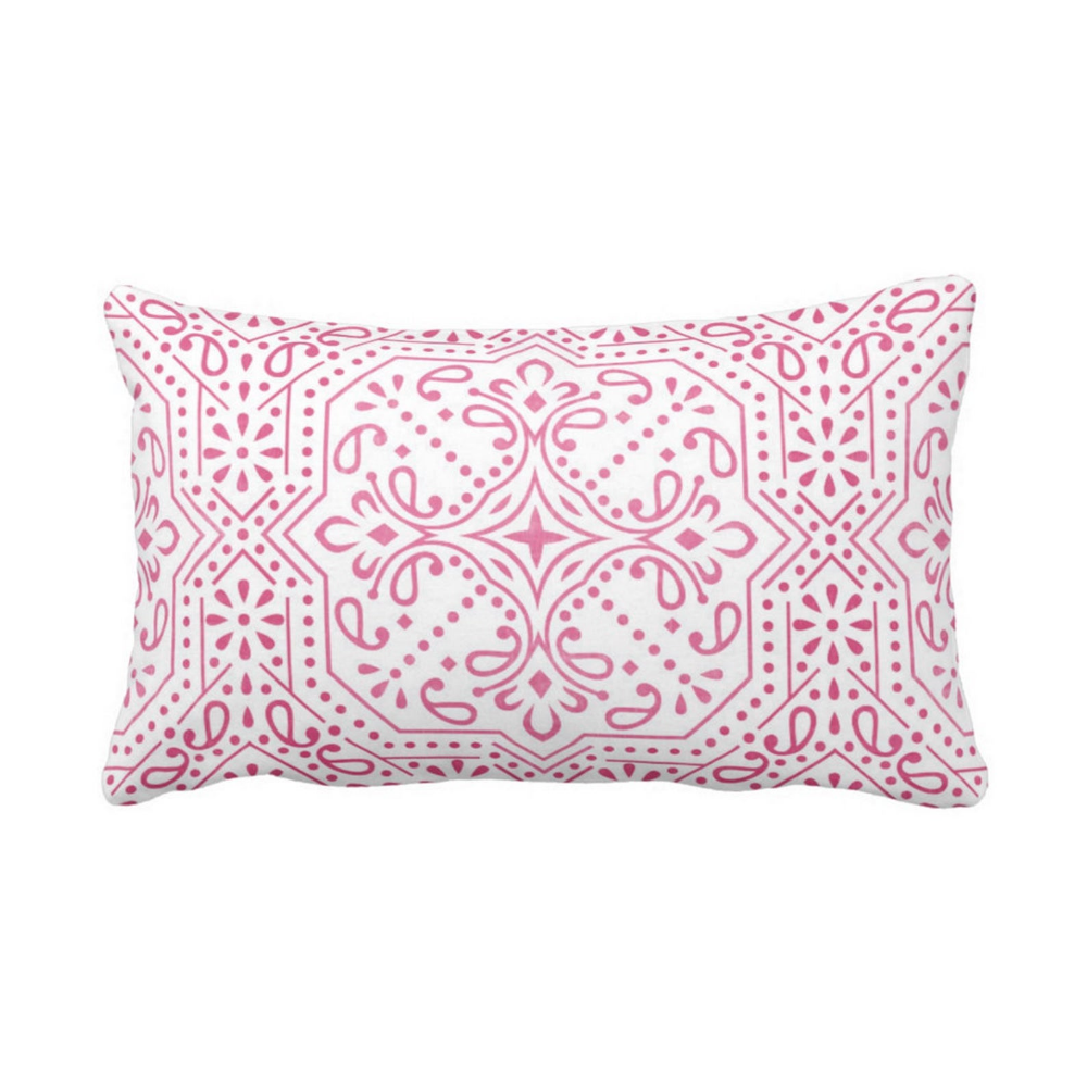 OUTDOOR Tile Print Throw Pillow or Cover Pink/White 14 x