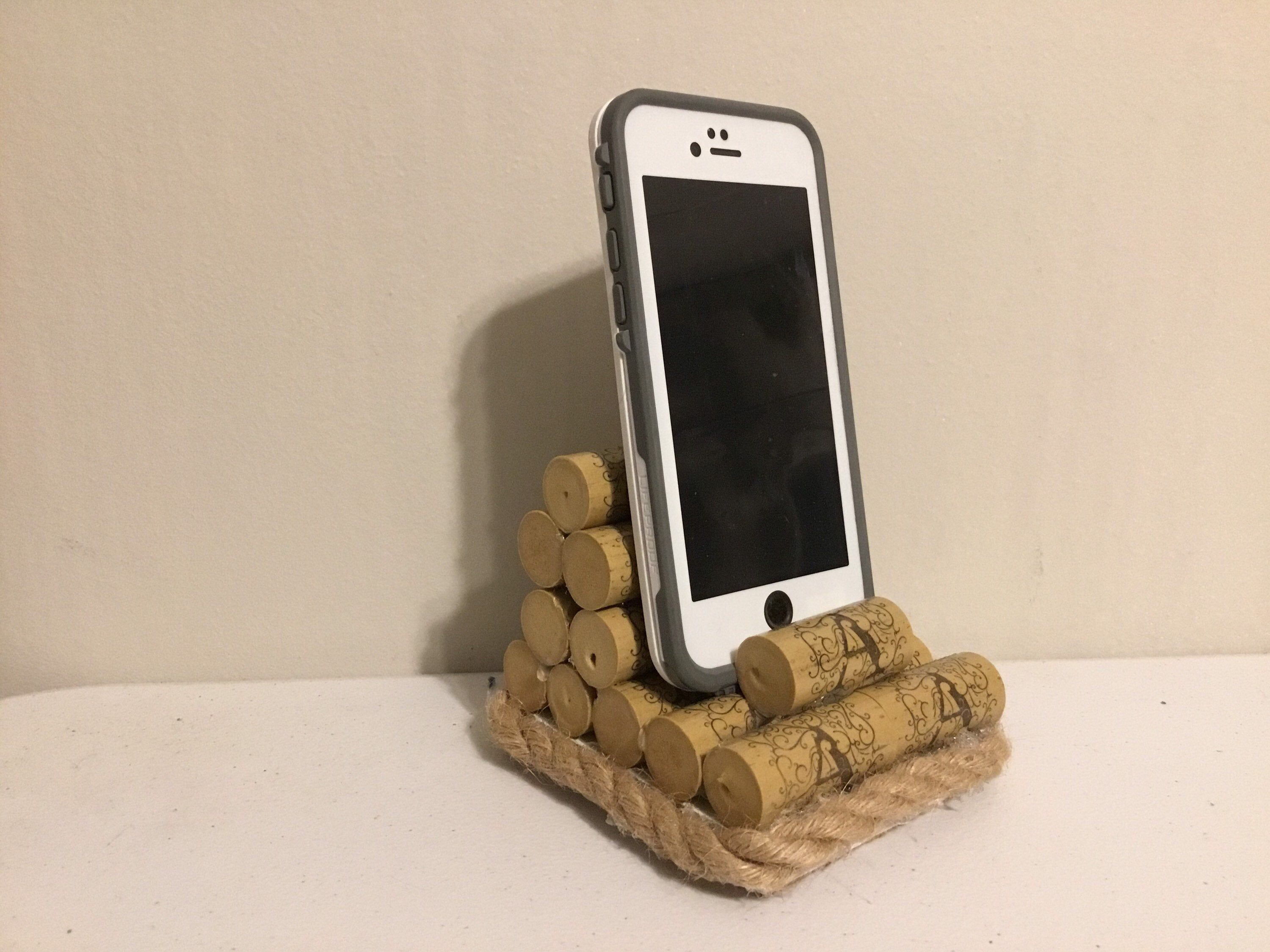 Phone and IPad stand made from corks