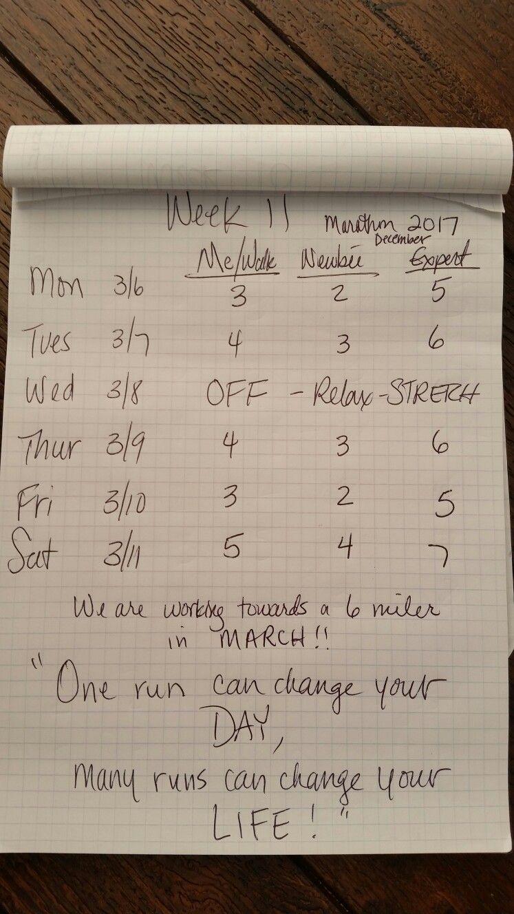Week 11!! Running 6 miles in March!!