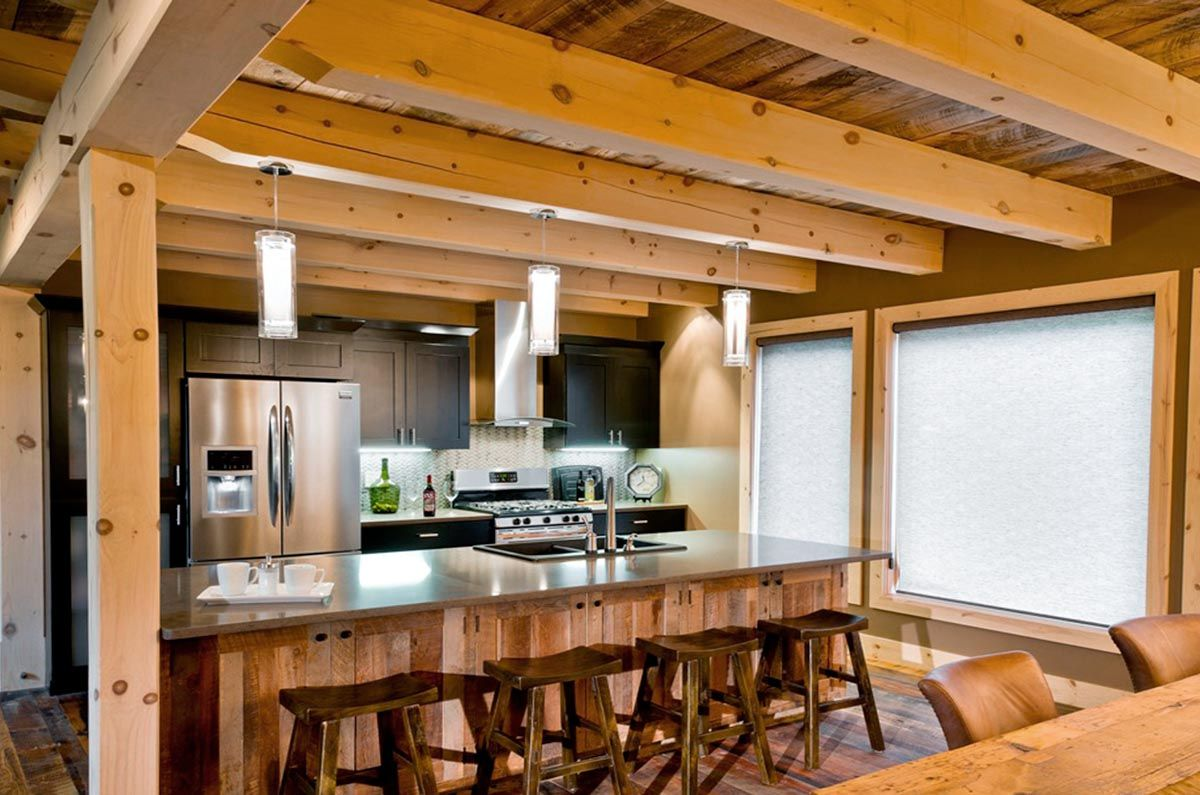 Kitchen With Exposed Kitchen Ceiling Joists Timber Frame Homes Timber Frame Kitchen Timber House