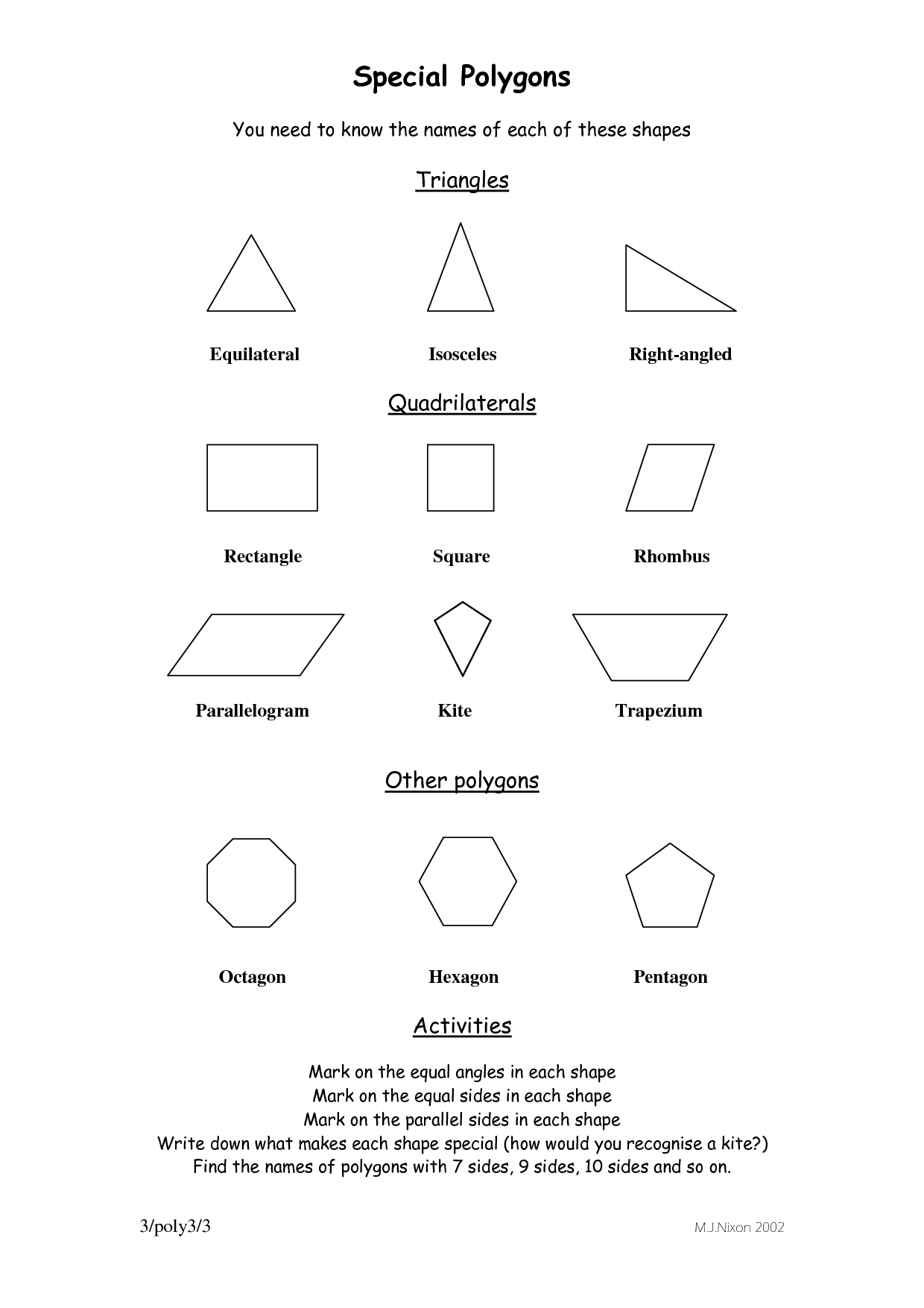 Worksheets Shape Names polygon shapes and names all polygons shape kids math shape