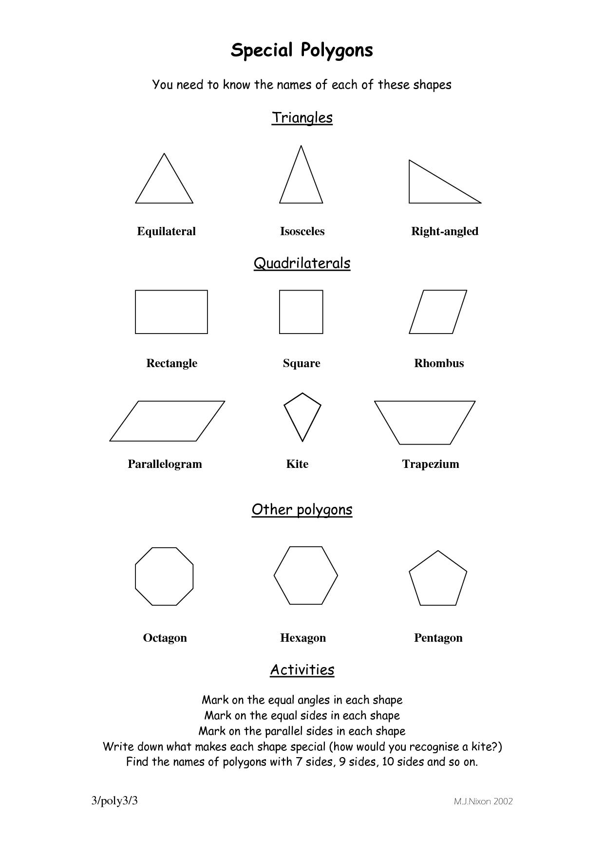 medium resolution of Special Polygons   Polygon shape
