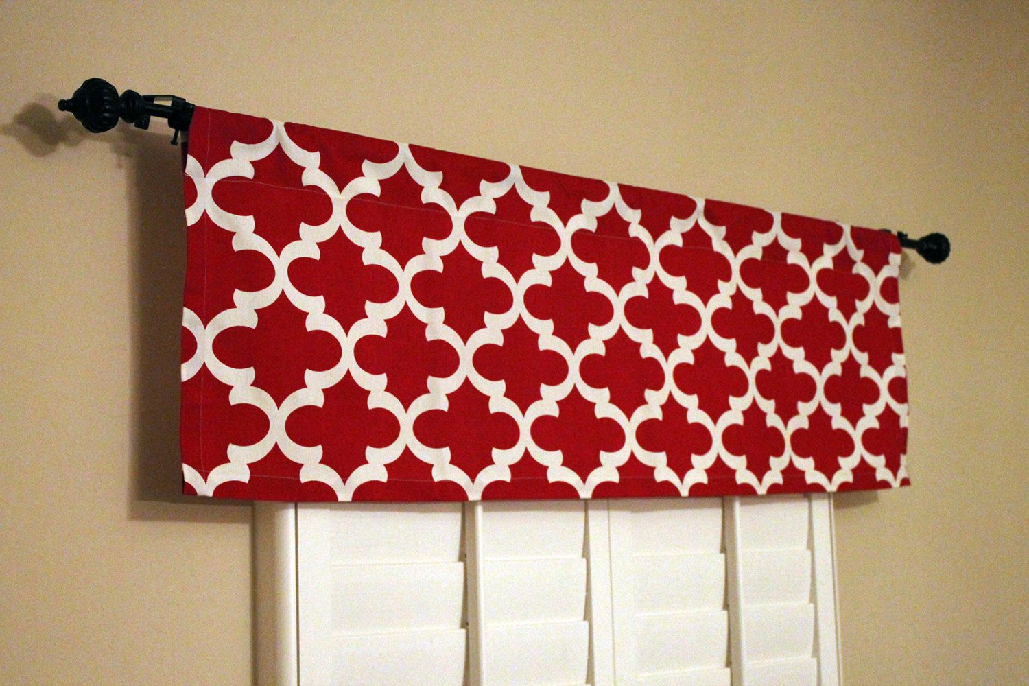 Red Kitchen Valance Counter Stool Curtains Window By Homemakeover 27 45