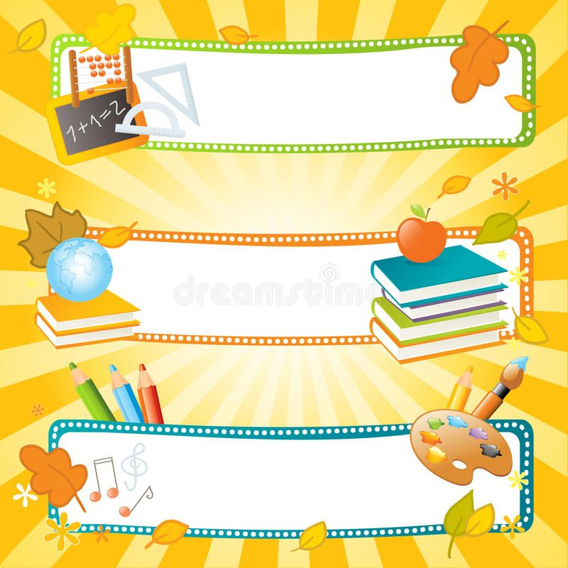School Vector Banners Back To School Banners Educational Theme Ad Banners Vector School Theme Edu School Frame Diy Classroom Page Borders Design