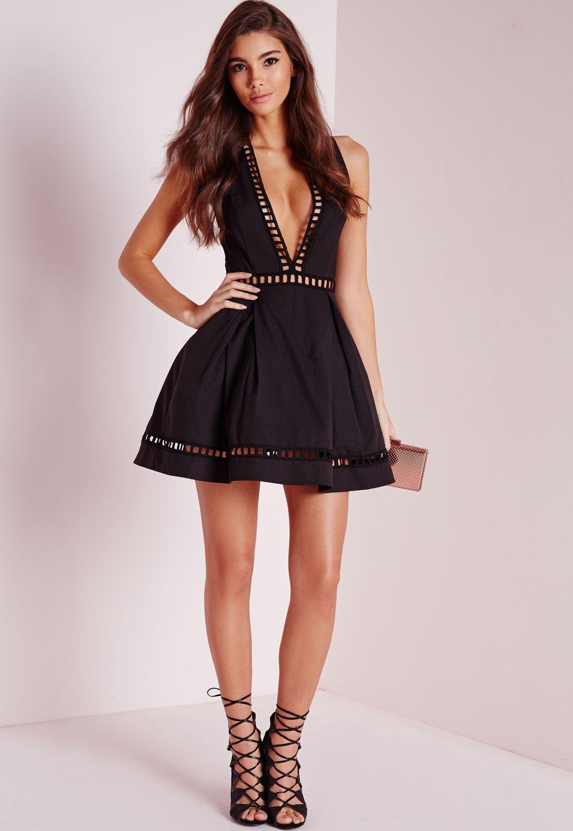 Missguided - Plunge Ladder Detail Skater Dress Black Short Dresses f66cb5458
