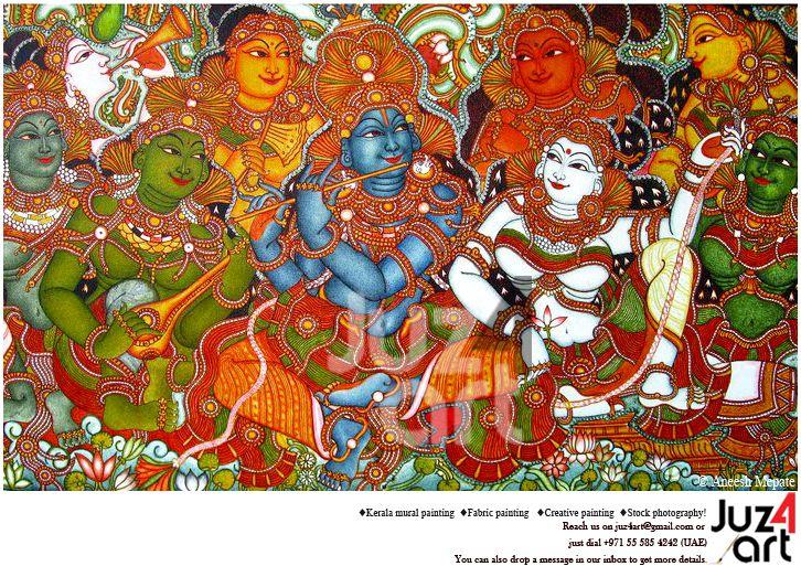 Radhamadhavam kerala mural art by artist aneesh mepate for Asha mural painting guruvayur
