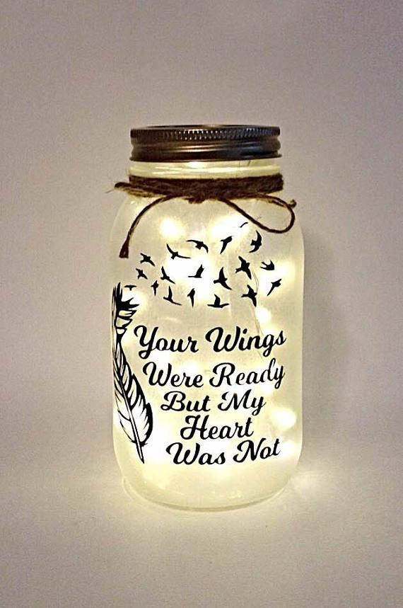 Your Wings Were Ready but my Heart was not Night Light / Mason Jar Night Light images