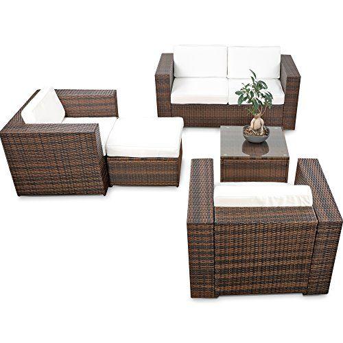 erweiterbares 15tlg XXXL Polyrattan Lounge Sofa Set kaufen - braun