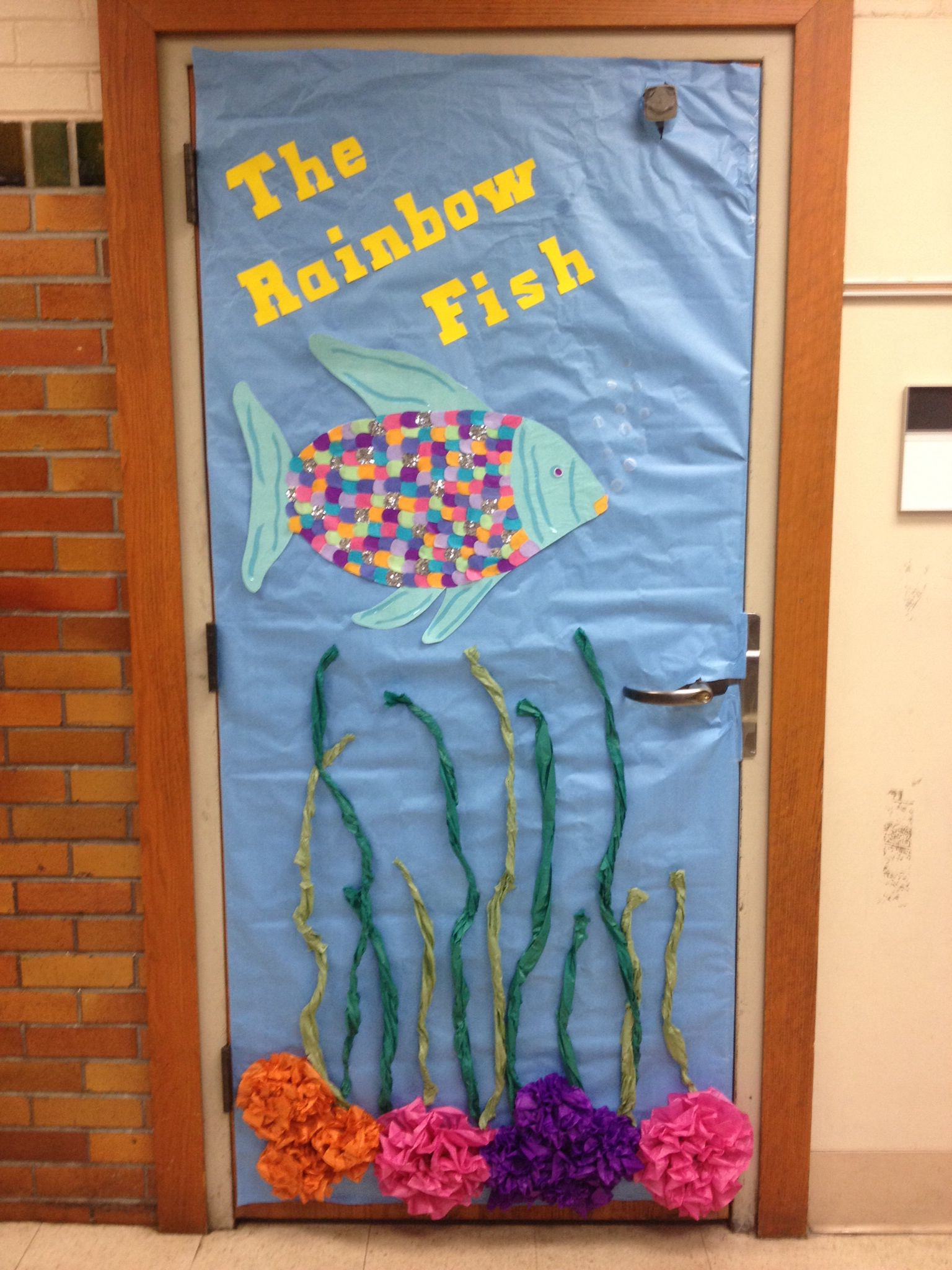 The rainbow fish literacy week door decoration for The rainbow fish