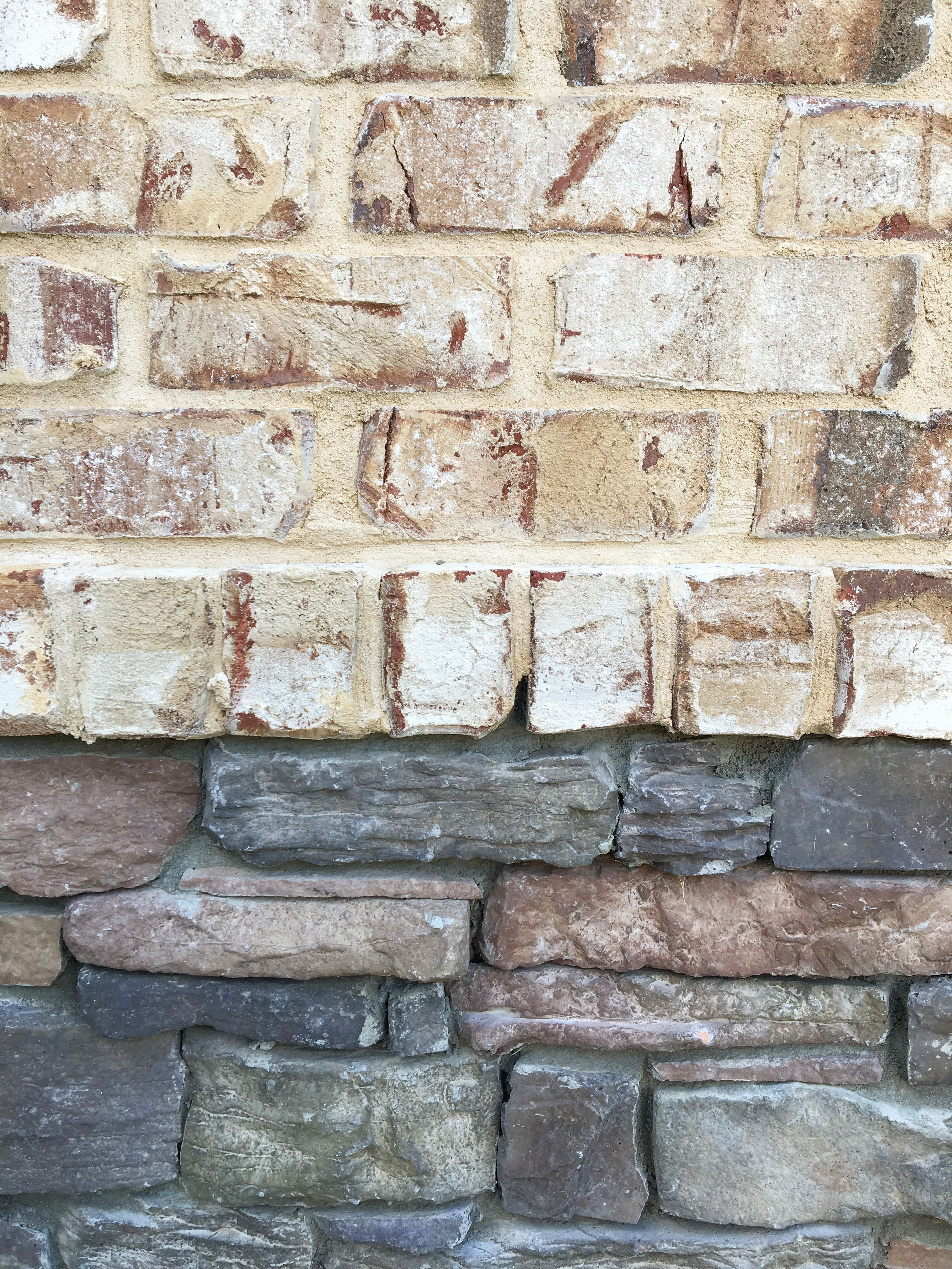 Color match brick and stone: Here Pine Hall Brick's Oyster Pearl matches  well with a