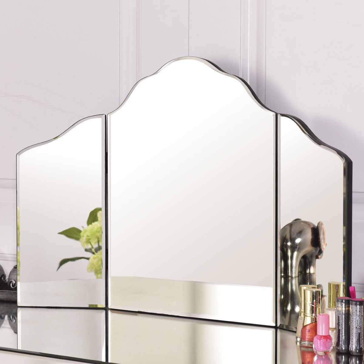 Gymax 27 X18 Large Trifold Vanity Mirror Makeup Dressing Cosmetic Mirror Tabletop Walmart Com Makeup Mirror Mirror Vanity Mirror