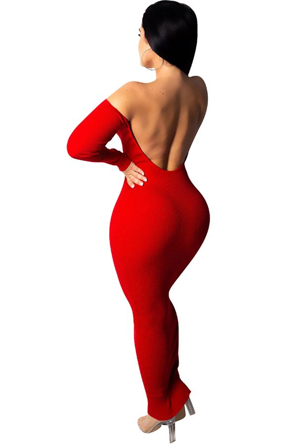0b56636b755b Sexy Off Shoulder Long Sleeve Backless Plain Bodycon Maxi Dress Red ...