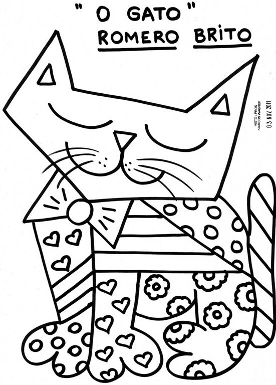 Desenhos Do Romero Britto Coloriage Coloriage Chat Feuilles De
