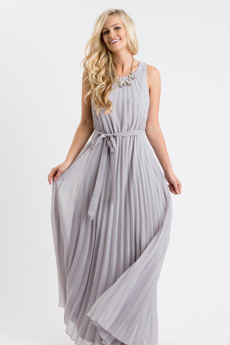 81d55bce21 Alina Grey Pleated Maxi Dress