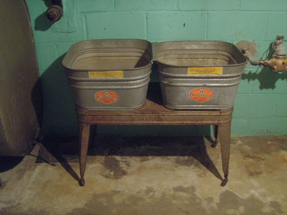 Vintage Galvanized Wheeling Metal Double Wash Tubs With Wheeled Stand Wheeling Wash Tubs Metal Wash Tub Tub