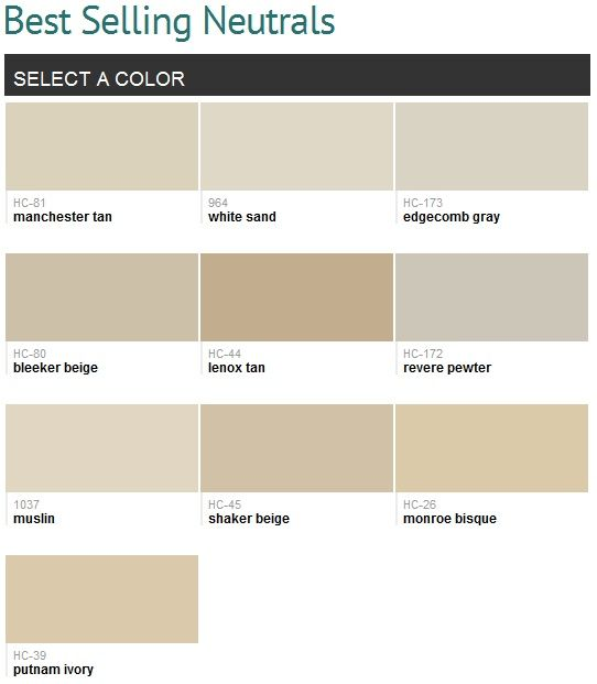 Most Popular Interior Neutral Paint Colors: Muslin & Edgecomb Gray