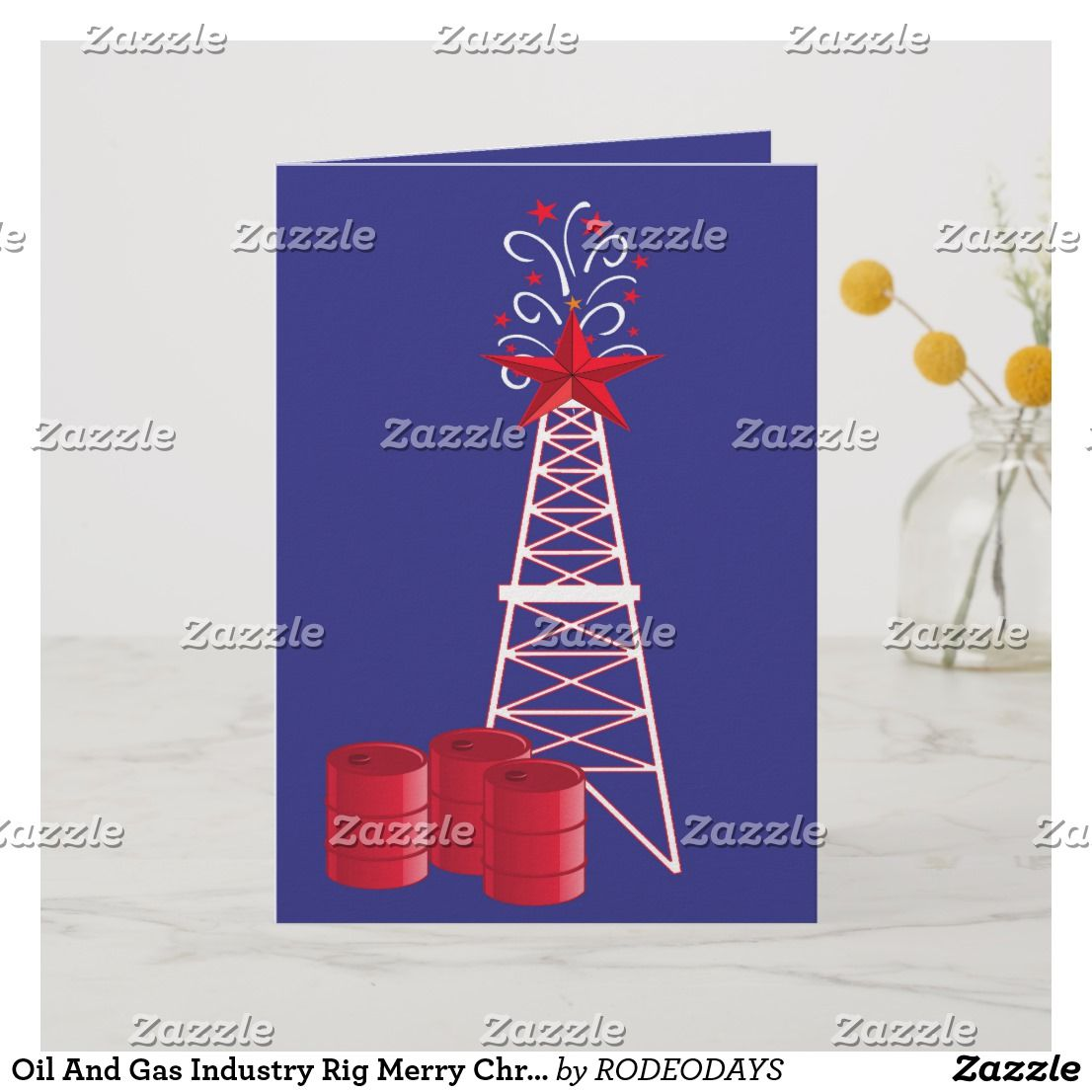 Oil And Gas Industry Rig Merry Christmas Cards Holiday Design Card Christmas Holiday Cards Western Christmas Cards