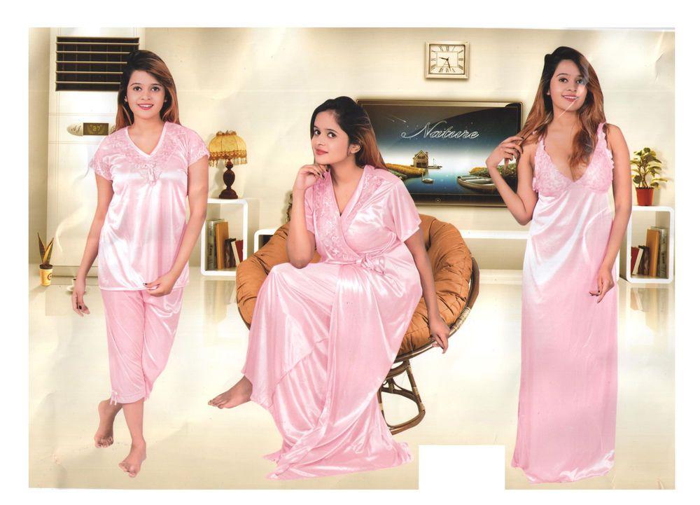 f05dd411bb Indiatrendzs Women Hot Sleepwear 4pc Top Capri Nighty   Over Coat Pink  Night Set  Indiatrendzs  nighty  women  sexy  honeymoonwear  babydoolset   nightdress ...