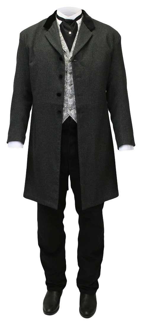 Very Long Men/'s Black Tuxedo Frock Coat 7 Button Satin Notch Lapel Knee Length