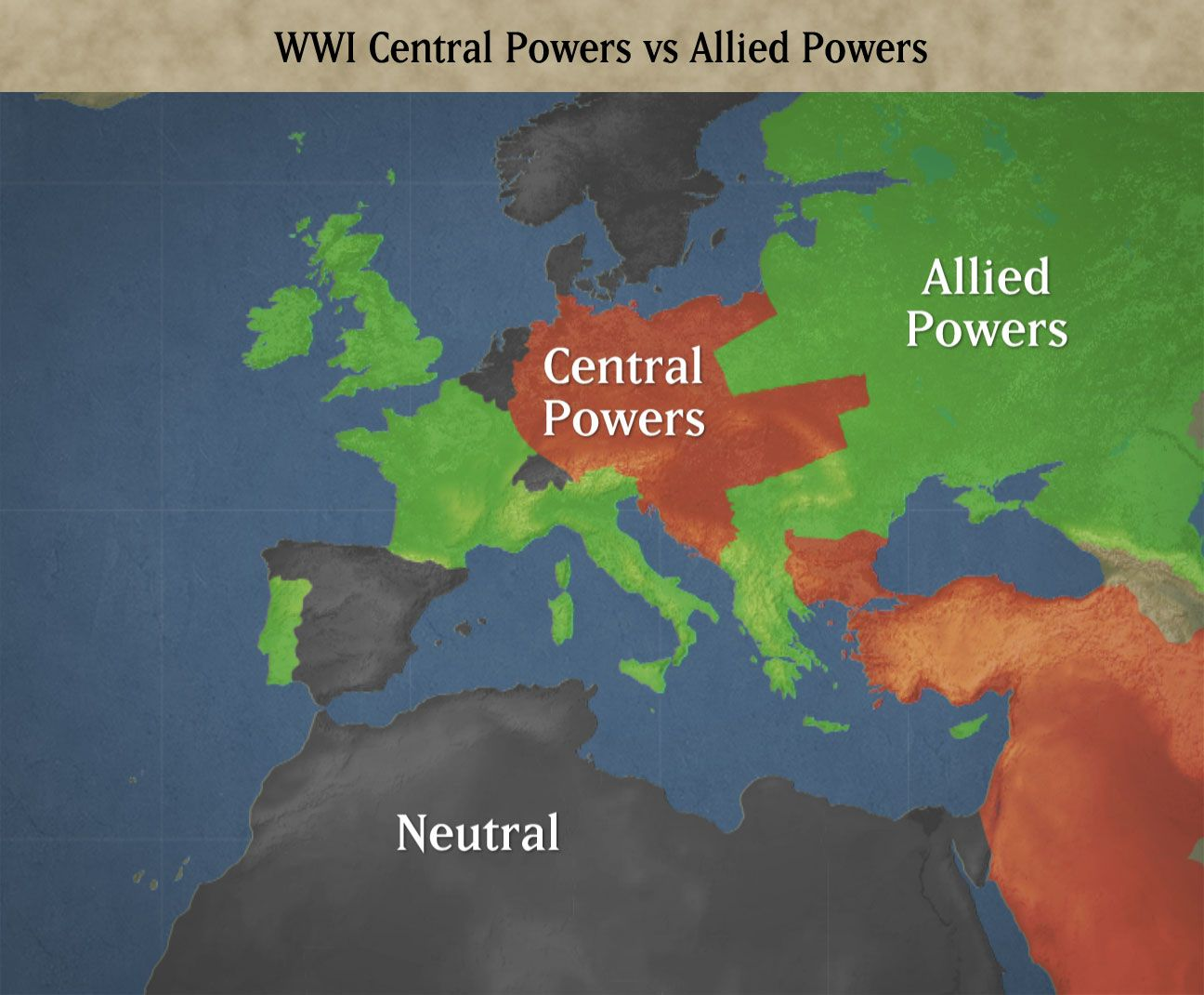 The Centralled Powers Had The Most Power And The Allied Countries Had Small Portions Of Power Central Powers Allied Powers Powers