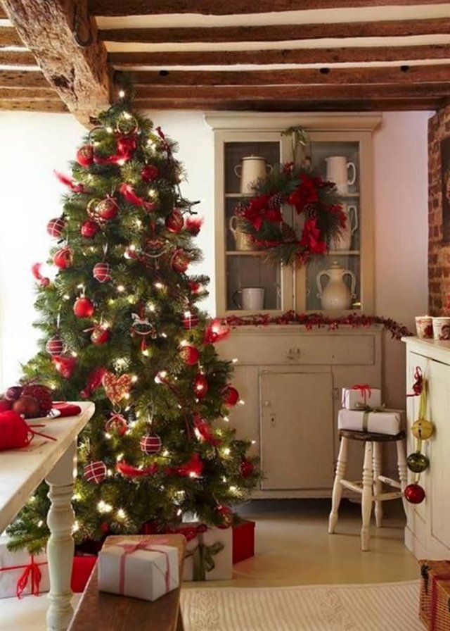 une d co de sapin de no l traditionnelle christmas no l pinterest comment inspiration. Black Bedroom Furniture Sets. Home Design Ideas