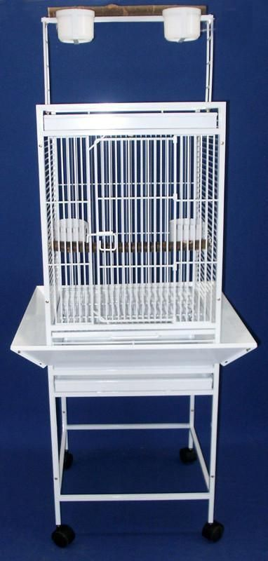"""YML Group WI18WHT WI18 1/2"""" Bar Spacing Play Top Wrought Iron Parrot Cage - 18""""x18"""" in White"""