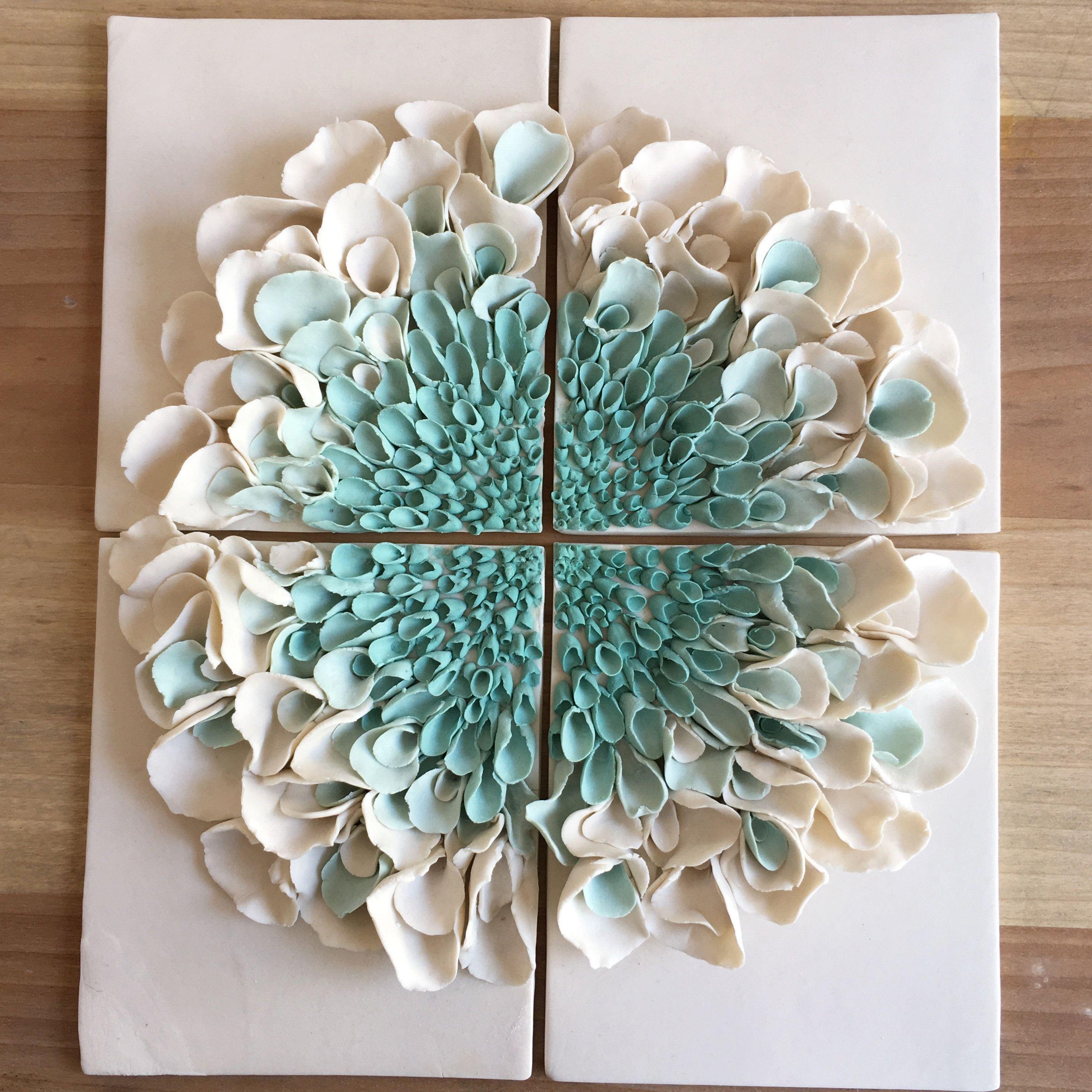 Ceramic Flower Wall Decor , Porcelain Blossom Tile, White
