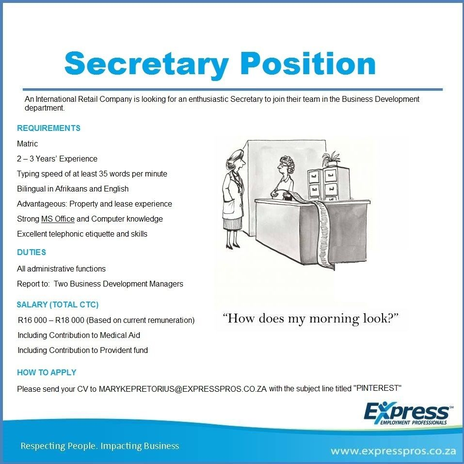 Here Is The Secretary Job That You Have All Been Waiting For Apply Now To The E Mail Provided With The Subject Line Titled Pinterest