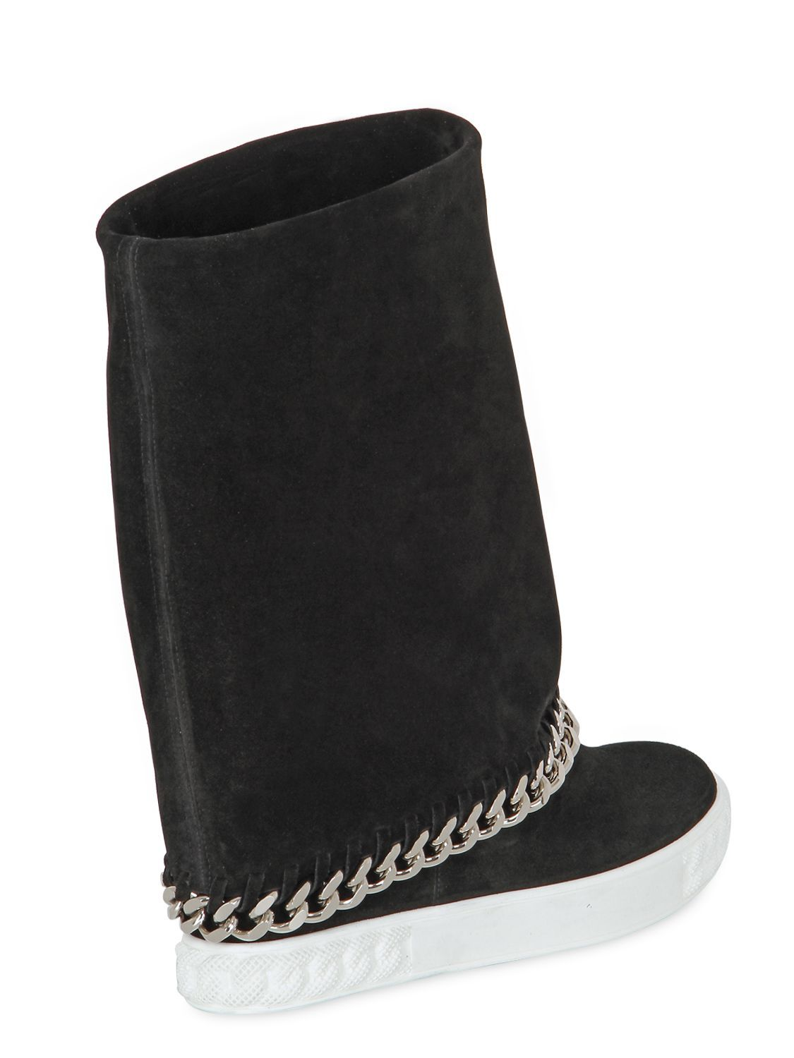 CASADEI - 90MM SUEDE WEDGE SNEAKERS W  CHAIN TRIM - LUISAVIAROMA - LUXURY  SHOPPING WORLDWIDE SHIPPING - FLORENCE 9b7286d990d