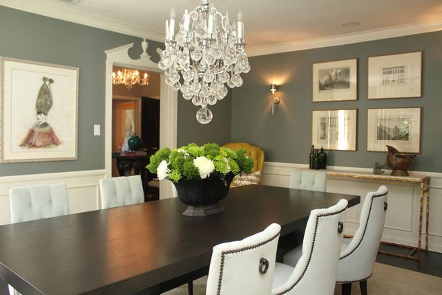 The dining room is traditional with a major infusion of glamour The
