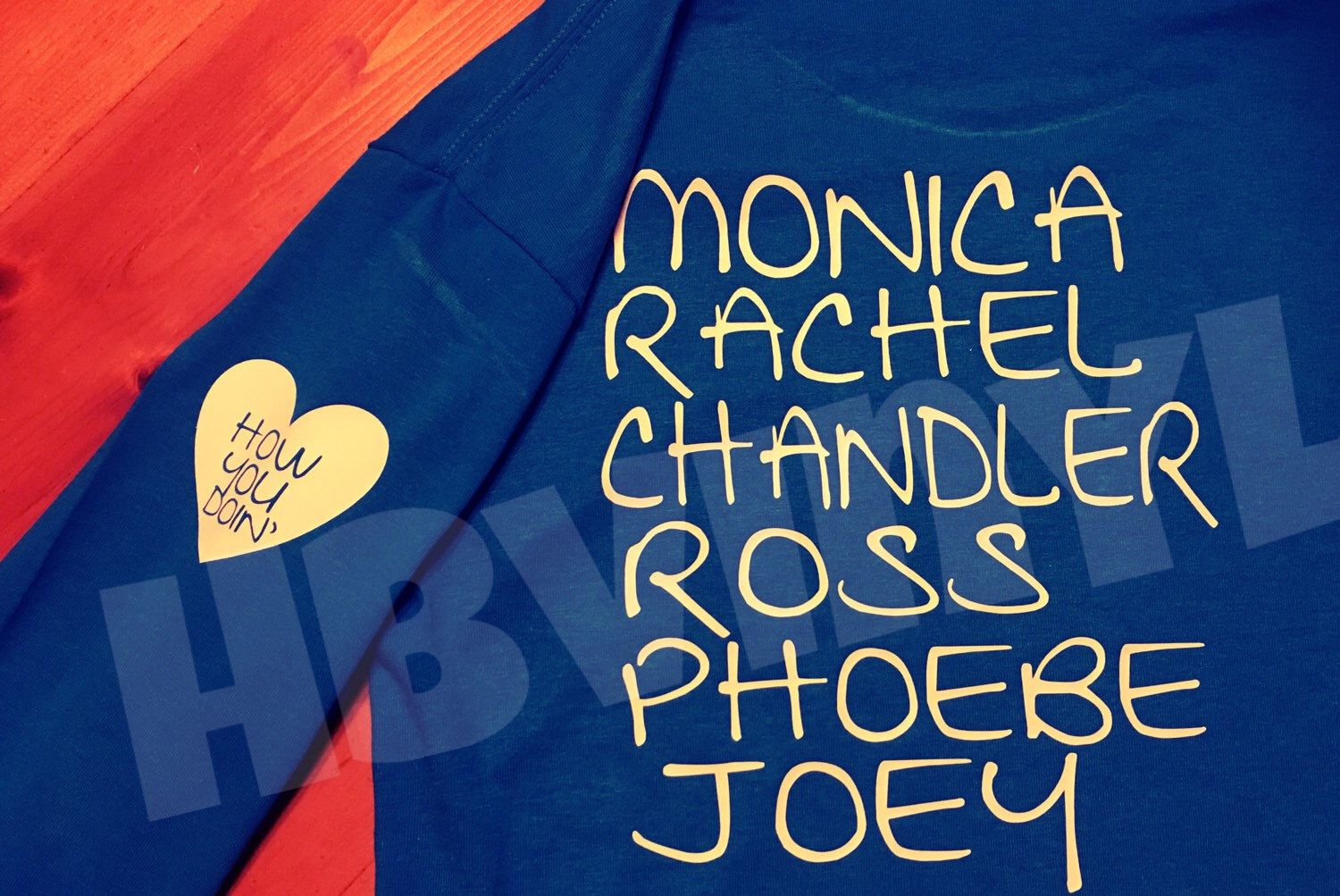 A personal favorite from my Etsy shop https://www.etsy.com/listing/263817855/friends-tv-series-ross-chandler-monica