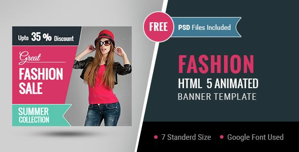 Fashion | HTML5 Google Banner Ad 01 . Features  For Sale Ad Template