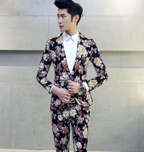 Floral Printed Mens Suits Jackets Slim Fit 2 Buttons Blazer Tuxedo Coat Prom Jacket