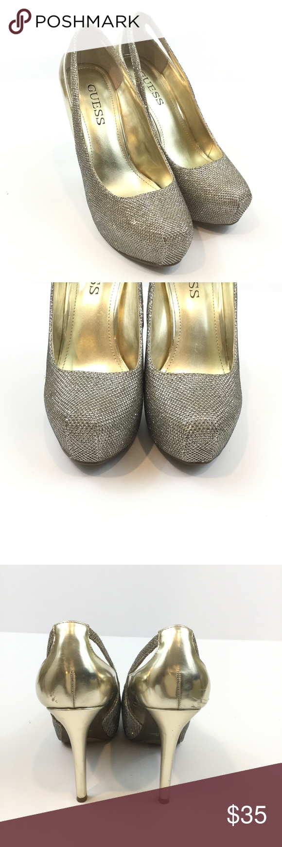 64758d7a4d9d Guess Gold Sparkle Women s Pumps Size 7.5 Guess Gold Sparkle Women s Pumps  Size 7.5 Preowned women s heels in good condition with minor scuffs See  photos ...