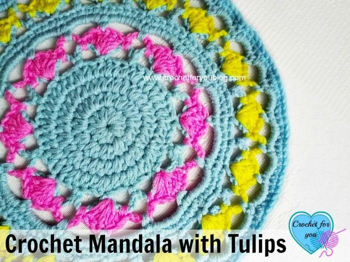 Crochet Mandala with Tulips - free pattern | Mandalas y Atrapasueños