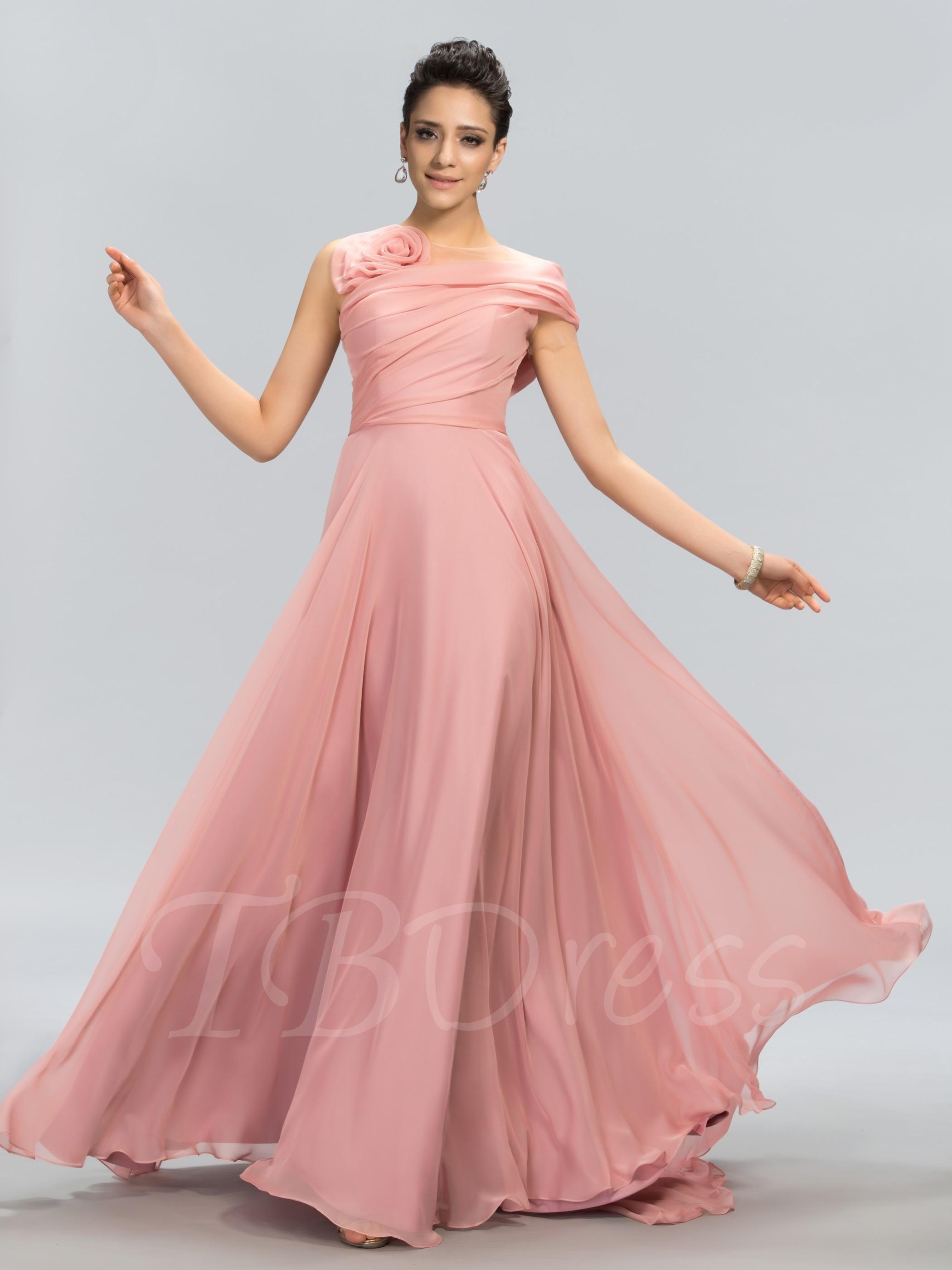 TBDress - TBDress Flower One Shoulder Short Sleeve A-Line Prom Dress ...