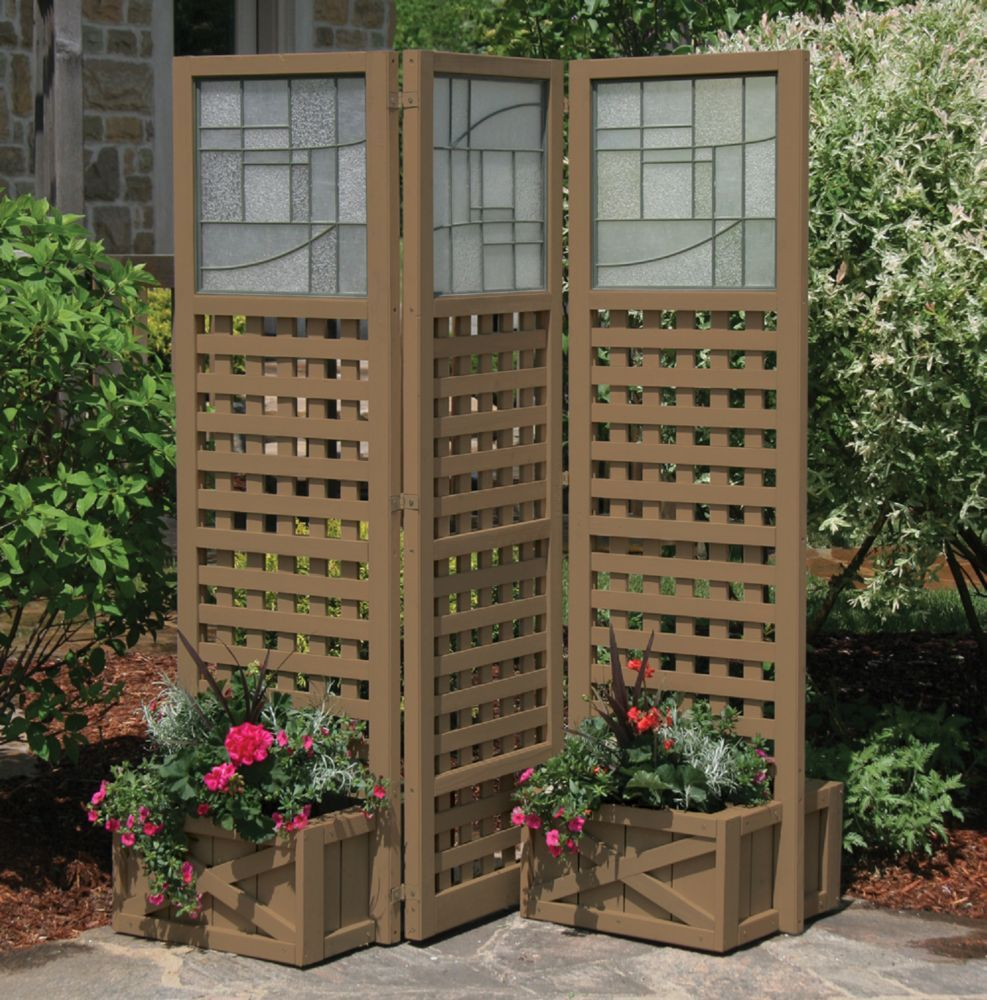Faux glass slat panel pr ivacy screen with planters