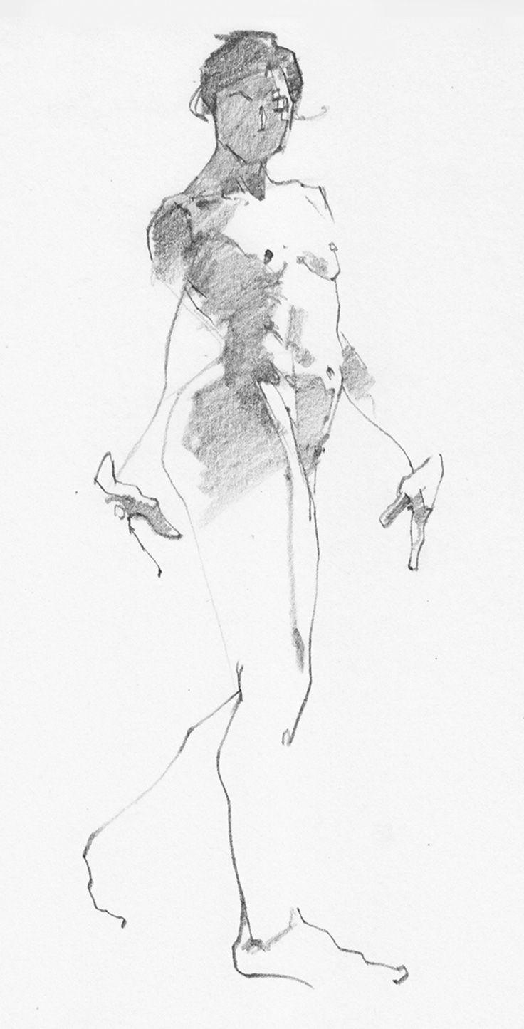 Aaron Coberly Minimalist Quick Sketch Of Walkingstanding Nude